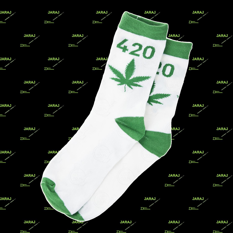 Długie Skarpety Białe 420 Zielone 40-45