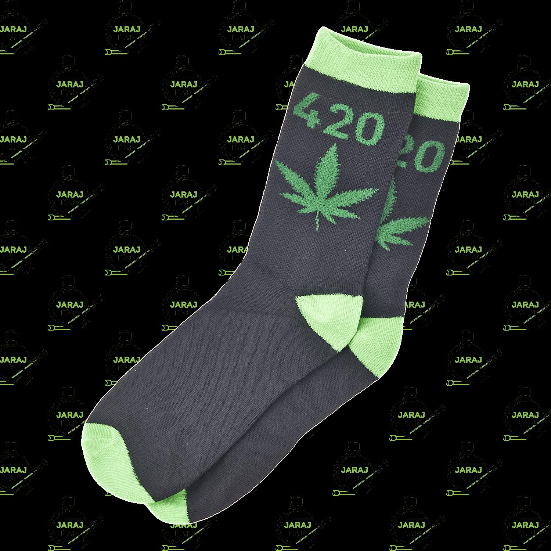 Długie Skarpety Czarne 420 Zielone 40-45